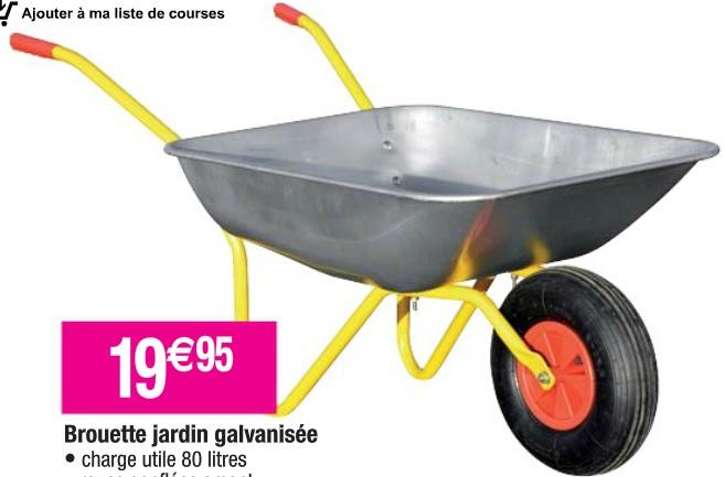 Brouette de jardin galvanisée - 80 L
