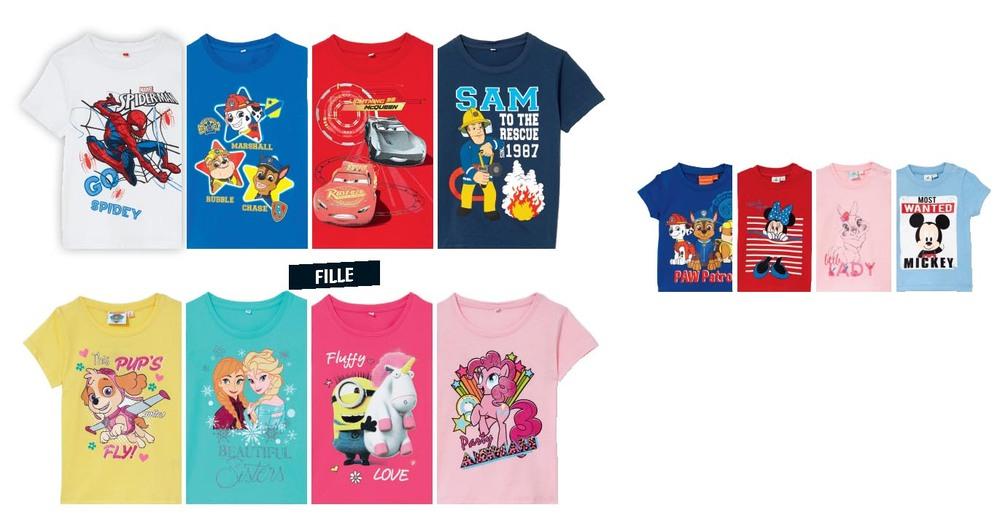 Lot de 2 tee-shirts pour enfant de diverses licences - en coton (du 3 mois au 10 ans)