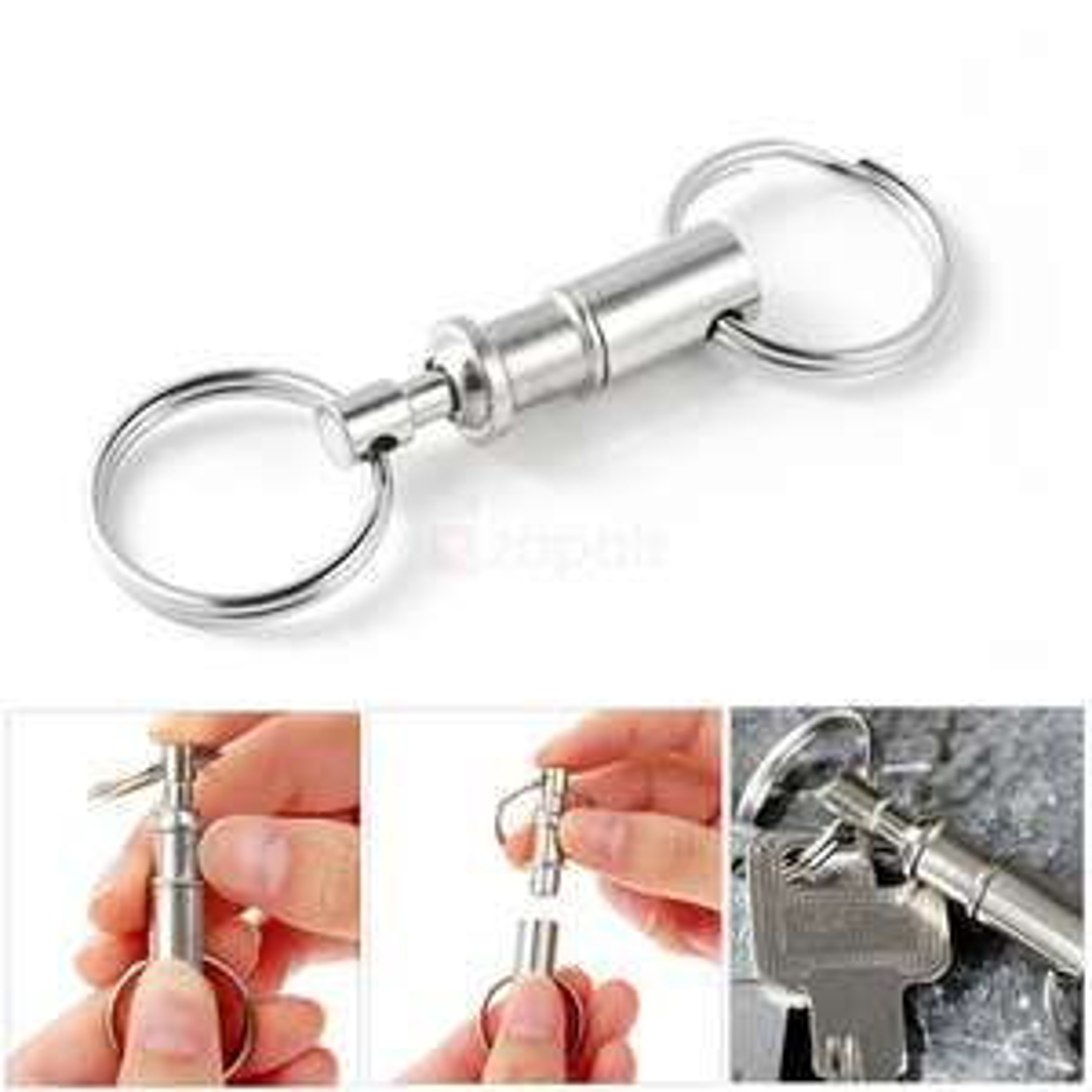 Porte-clés détachable avec porte-clés à dégagement rapide avec deux anneaux fendus