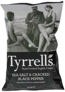 Lot de 12 sachets de chips Tyrrells Sea Salt and Black Pepper Crisps 150 g