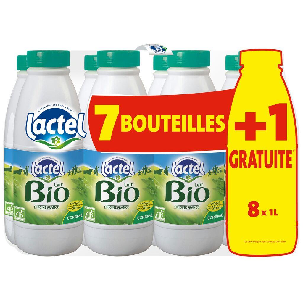 Pack de 8 Bouteilles de lait Lactel Bio demi ecreme (4.45€ fidélité sur la carte Waaoh) - Auchan Drive Mâcon (71)