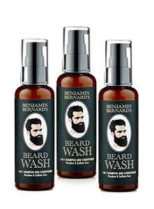 Lot de 3 shampooings pour barbe (Beard Wash) Benjamin Bernards 100ml (Vendeur Tiers)