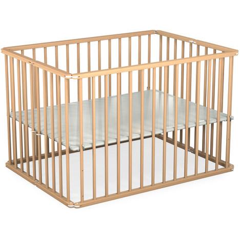 Parc en bois pliant pour bébé avec plancher réglable