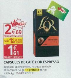 Pack de 11 capsules de Café l'Or Espresso Delizioso, Splendente ou Ristretto au choix (via 1.08€ fidélité)
