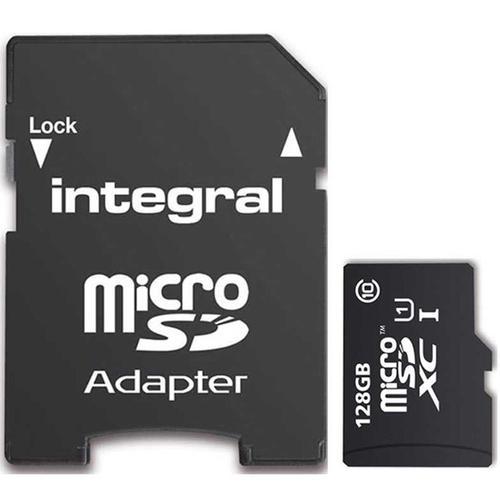 Carte Micro SDXC Integral UHS-I U1 (jusqu'à 80 Mo/s)   128 Go + Adaptateur SD