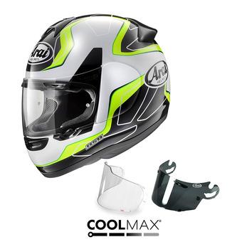 Jusqu'à -60% sur une sélection de casques moto Arai - Ex : Pack casque intégral Axces II flow green + écran fumé + pinlock