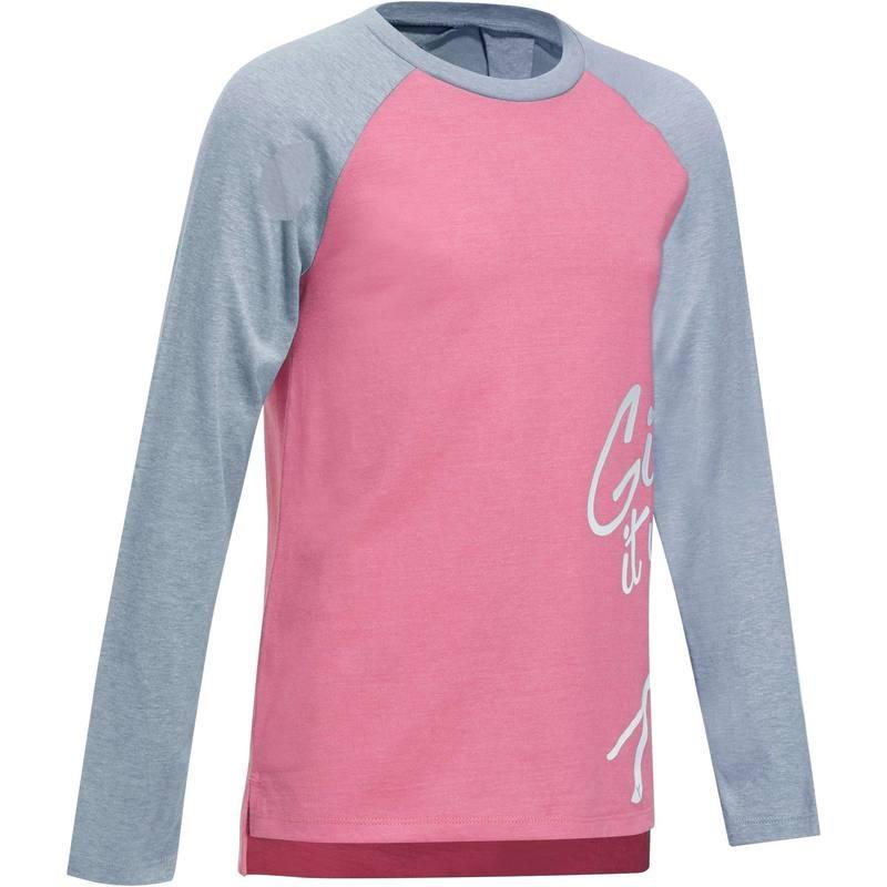 T-Shirt Domyos Gym 500  à Manches Longues pour Enfants (Filles) - Tailles au choix