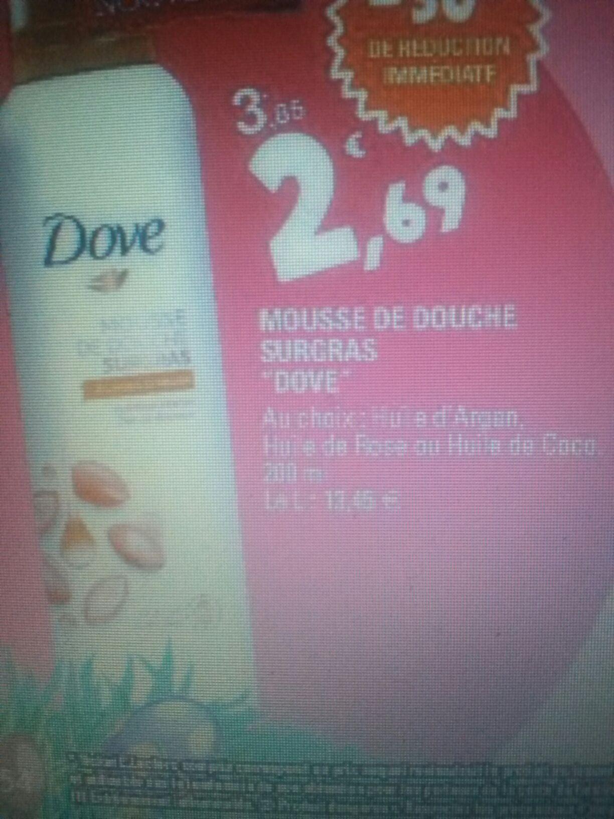 Mousse de douche Dove - 400 ml (via BDR sur carte Leclerc + BDR)