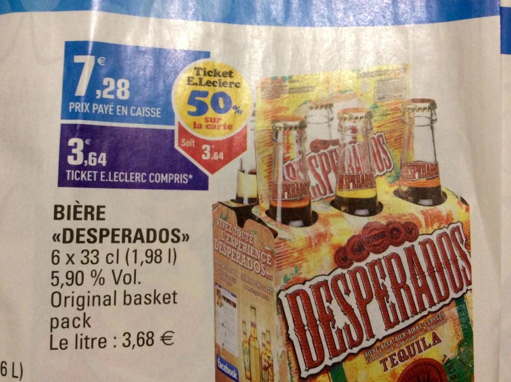 50% crédité sur la carte sur une sélection de produits - Ex : Pack de 6 bières desperados 33Cl