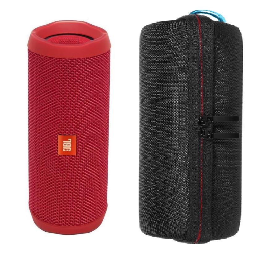 Enceinte bluetooth JBL Flip 4 Rouge + Étui de rangement Noir