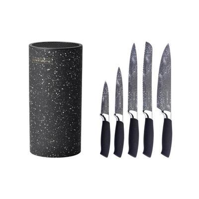 Set de 5 couteaux Royality Line en acier inoxydable avec bloc - Noir