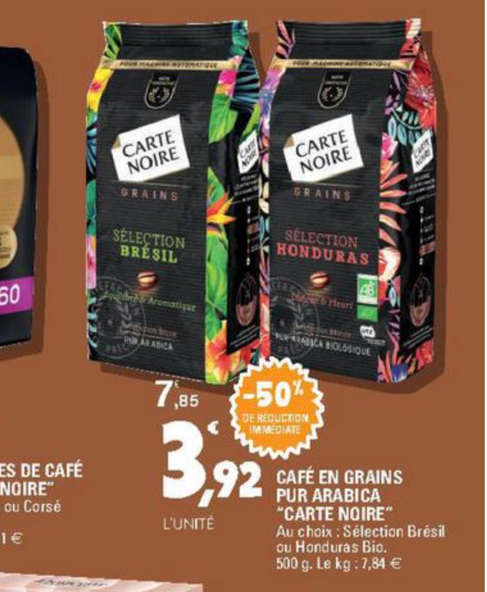Café en grains pur arabica Carte noire 500g