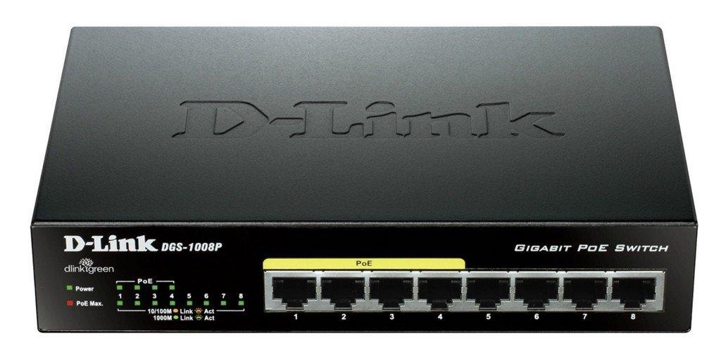 Switch réseau D-Link DGS-1008P - 8 ports 10 / 100 / 1000 Mbps dont 4 ports PoE