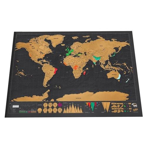Carte du monde adhésive à gratter - 82.5 x 59.4 cm