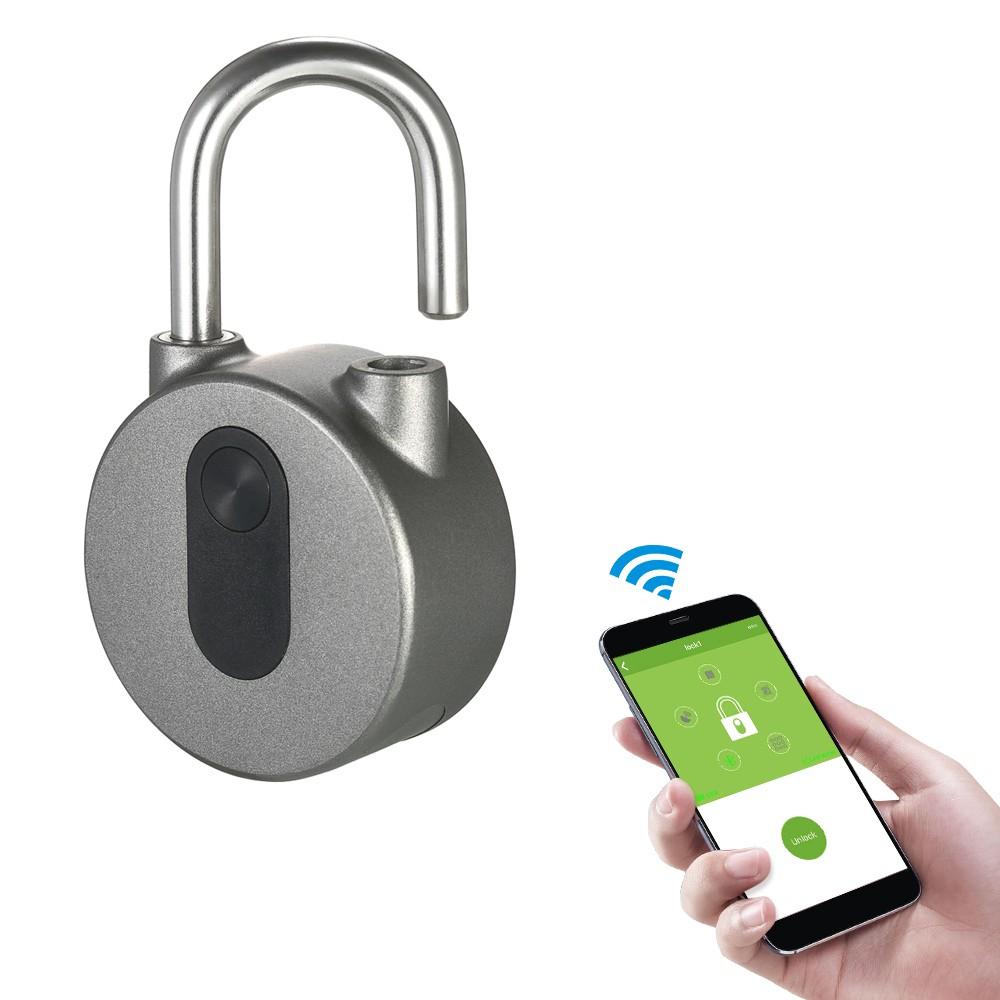 Cadenas imperméable avec déverrouillage Bluetooth (Bouton, Code ou Empreinte Digitale) - Compatible Android et iOS