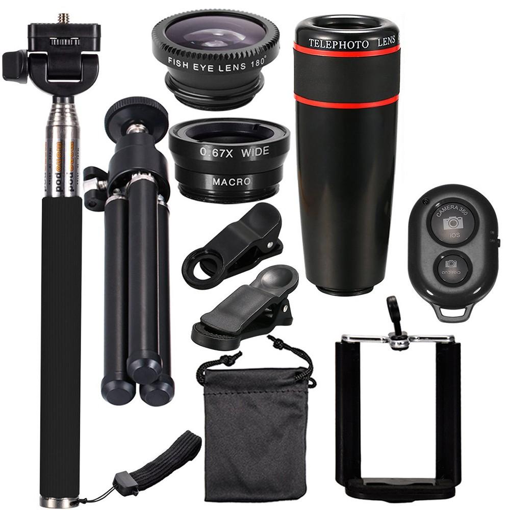 Kit de 10 accessoires photo pour smartphone (Perche + Trépied + Objectifs + Télécommande)