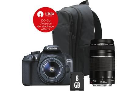 Pack appareil photo numérique reflex Canon EOS 1300D (18 Mpix, CMOS, fill HD) + objectifs 18-55 III & 75-300 III + EF 50MM F/1.8 STM + sac à dos + carte SD (8 Go)