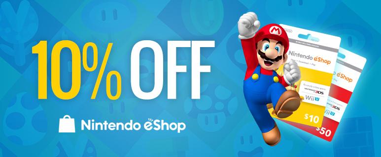 10% de réduction sur toutes les cartes eshop Nintendo (PCGamesupply)