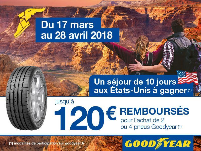 Jusqu'à 120€ remboursés en virement bancairepour l'achat de 2 ou 4 pneus Goodyear ou Dunlop