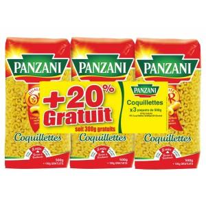 Lot de 3 paquets de pâtes Panzani (plusieurs variétés) - 500g (+20% gratuit)