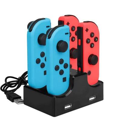 Station/Dock de recharge IPLAY pour 4 Manettes Nintendo Switch Joy-Con + 2 Ports USB