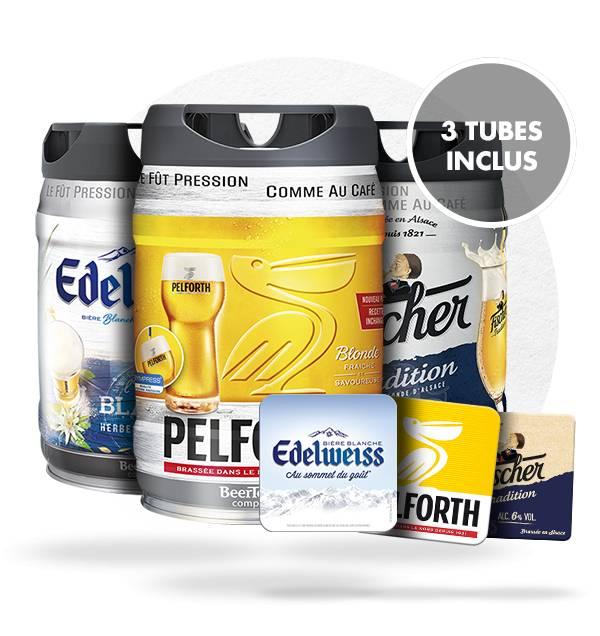 Pack de fûts Beertender + 3 tubes + 60 sous-bocks