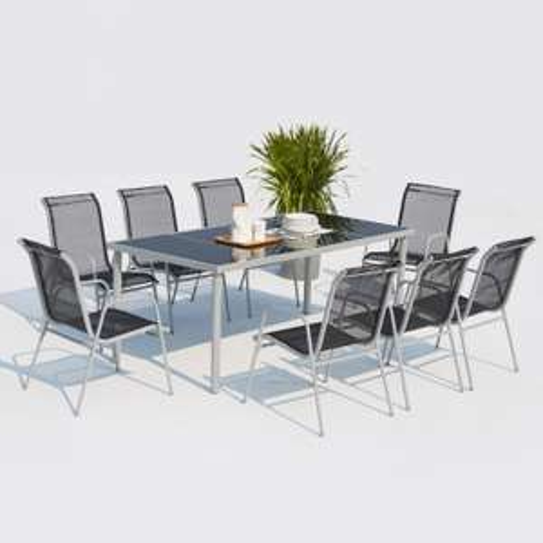 Table de jardin Lusiana 8 - 190cm en acier inoxydable + 8 chaises en acier et textilène - Concept-usine.com