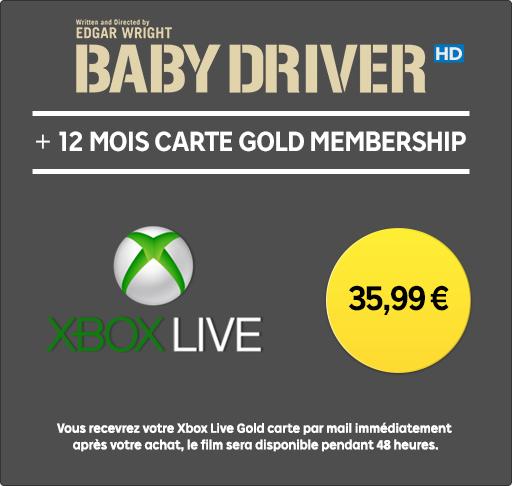 Abonnement Xbox Live Gold 12 mois + Film Baby Driver en location 48h