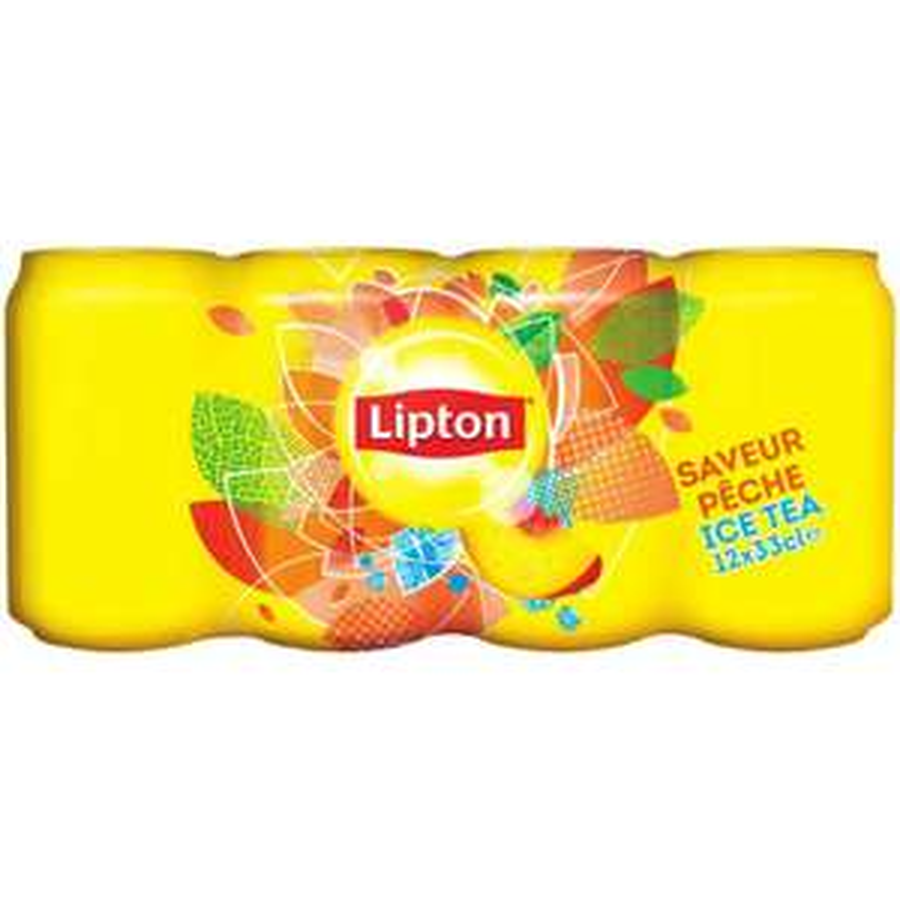 Pack canettes Lipton Ice Tea saveur pêche - 12x33cl (+2,93€ sur la carte de fidélité)