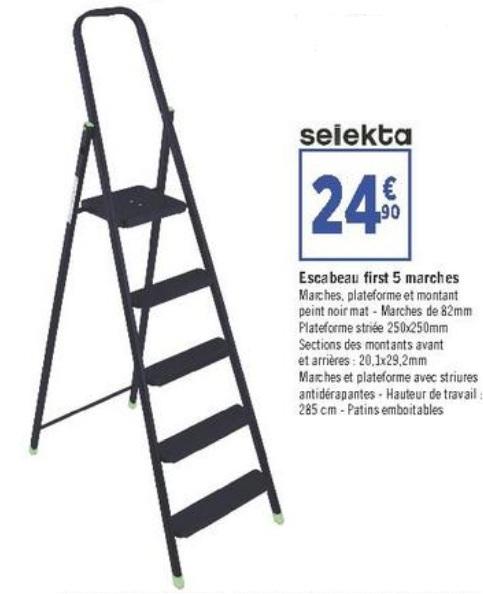 Escabeau Selekta First - 5 marches, noir
