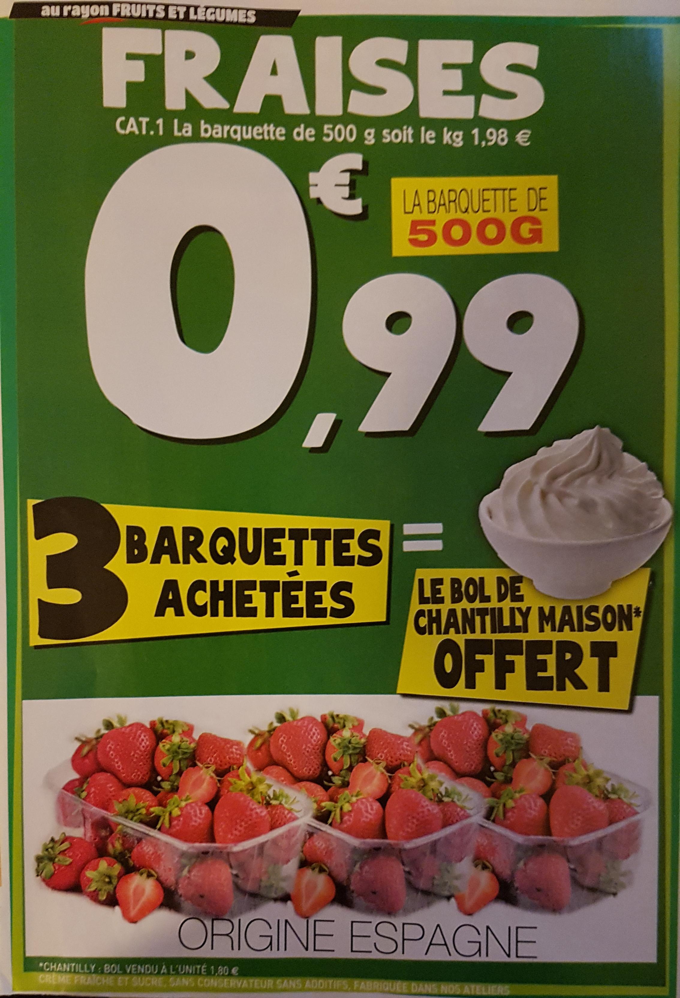 Barquette de 500g de fraises - E.Leclerc Nîmes (30)