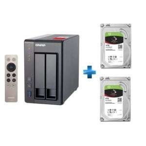 "Serveur Nas QNAP TS-251+ (2 baies, RAM 2 Go) avec Télécommande + 2 Disques durs interne 3.5"" Seagate IronWolf (5900 trs/min, 64 Mo) - 2 x 4 To"