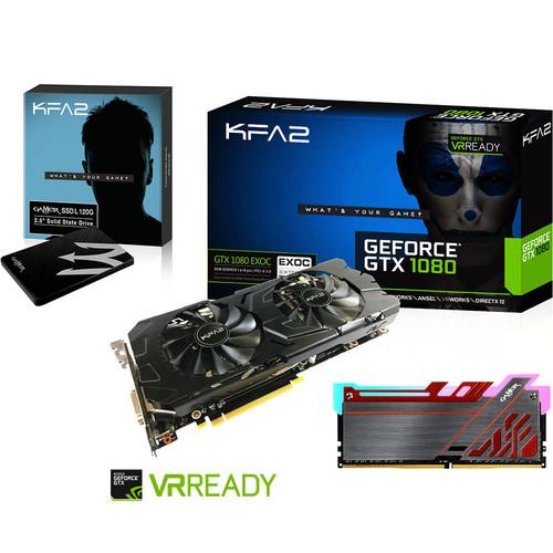 Carte graphique KFA2 GeForce GTX 1080 EXOC - 8 Go + SSD L KFA2 120 Go + RAM Gamer III RGB, 8 Go, 2400 MHz, CAS 16