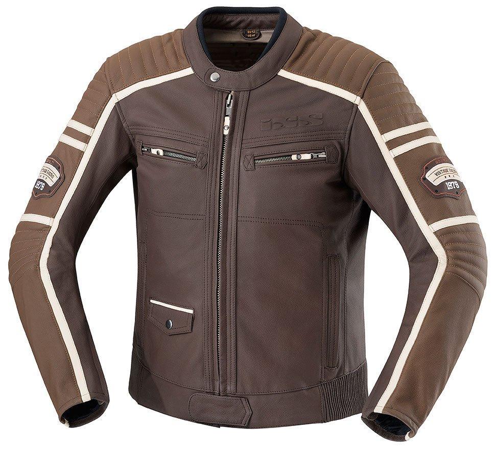Sélection de blousons de moto en promotion - Ex : IXS Curtis - en cuir, marron ou noir (du 48 au 60)