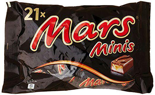 Lot de 2 paquets de 21 confiseries Bounty, Mars, Snickers ou Twix Minis - 403 g