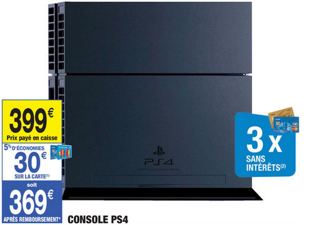Console Sony PS4 (Avec 30€ sur la carte de fidélité)