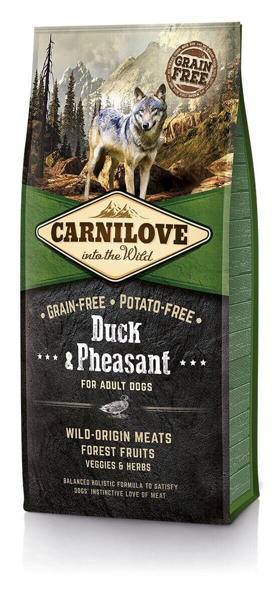 Offre découverte croquettes chien Carnilove lot de 3 sachets: Canard et faisan 1.5kg + Saumon 1,5kg + Sanglier 1,5kg