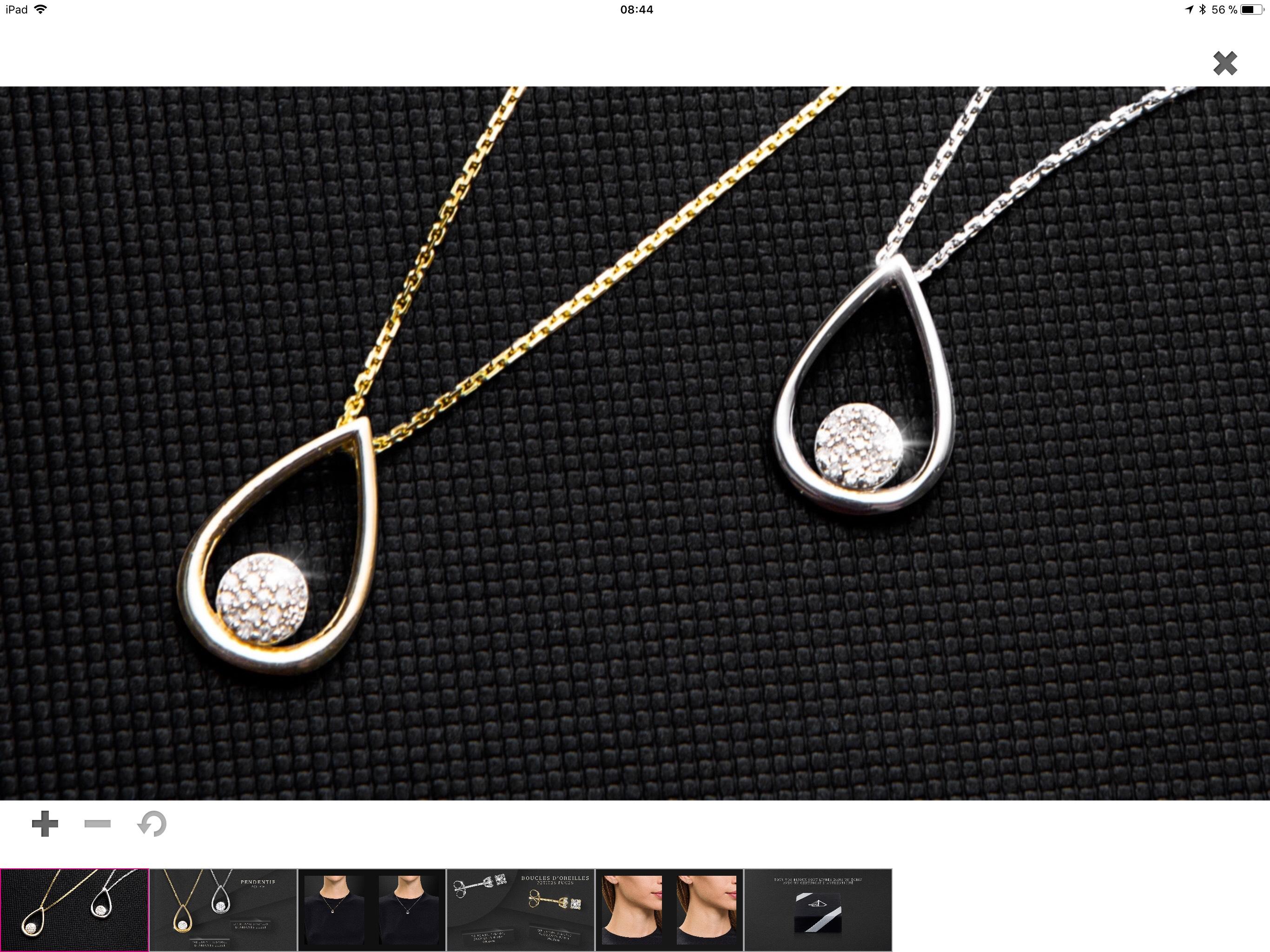 Pendentif poire DIAMANTA - Or blanc ou Or jaune 375/1000, diamant 0,05carats