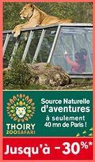 Billet Adulte pour Parc zoologique de Thoiry (78) à 20.3€ ou Enfant à 16.3€
