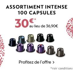 Assortiment de 100 capsules de café Nespresso Intense