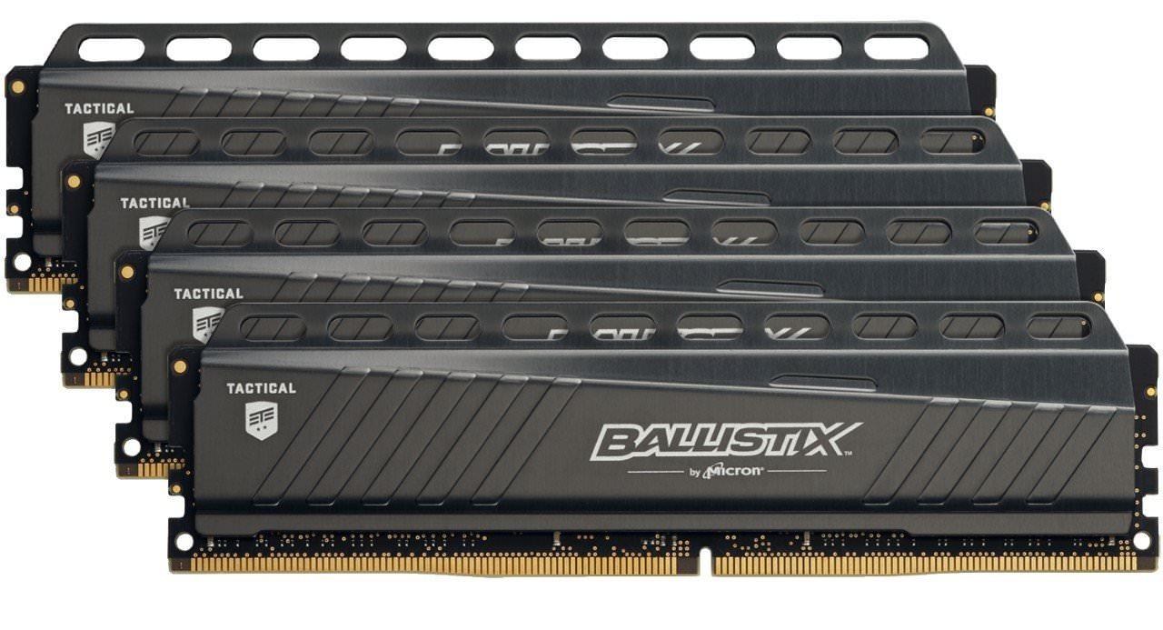Kit mémoire DDR4 Crucial Ballistix Tactical (BLT4C4G4D26AFTA) - 16 Go, (4 x 4 Go), 2666MHz
