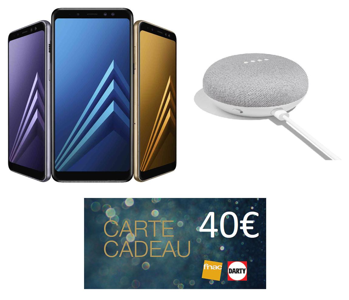 "Smartphone 5.6"" Samsung Galaxy A8 (2018) - Full HD+, Exynos 7885, RAM 4 Go, ROM 32 Go + Google Home Mini + 40€ en Carte Cadeau (via reprise en magasin + ODR de 70€)"