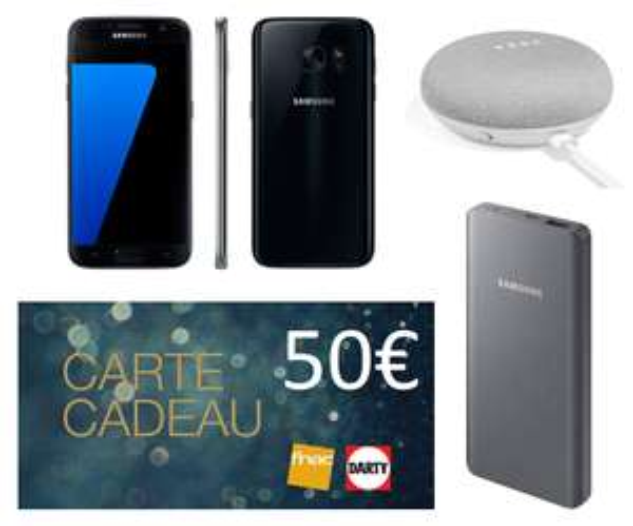"Smartphone 5.1"" Samsung Galaxy S7 + Batterie externe Samsung 10000 mAh + Google Home Mini + 50€ en Carte Cadeau (via ODR de 70€)"