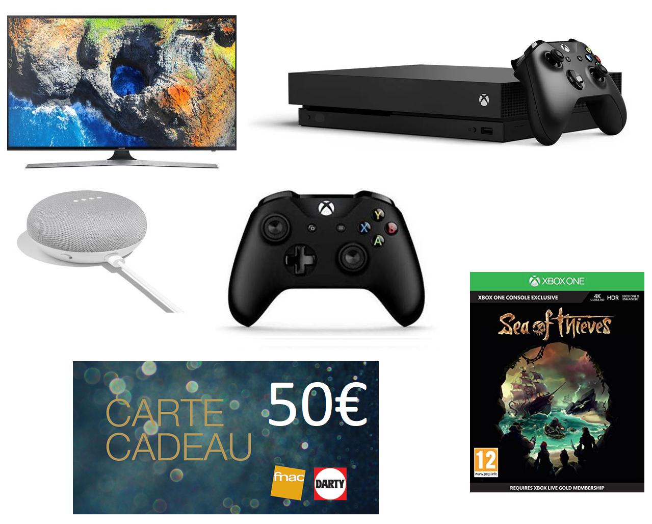 """TV 49"""" Samsung UE49MU6105 4K + Console Microsoft Xbox One X + 2 Manettes + Sea of Thieves (Dématérialisé) + Google Home Mini + 50€ en Carte Cadeau"""