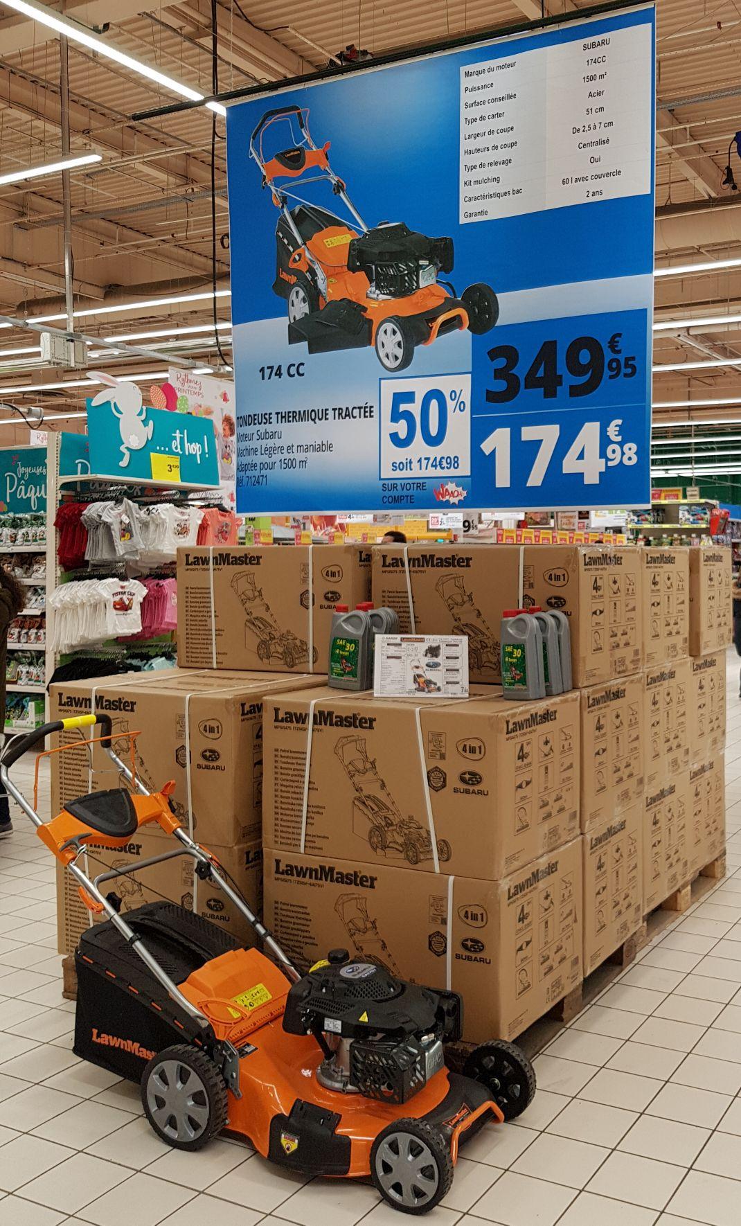 Tondeuse thermique tractée Subaru (via 174.98€ fidélité) - Auchan villars (42)