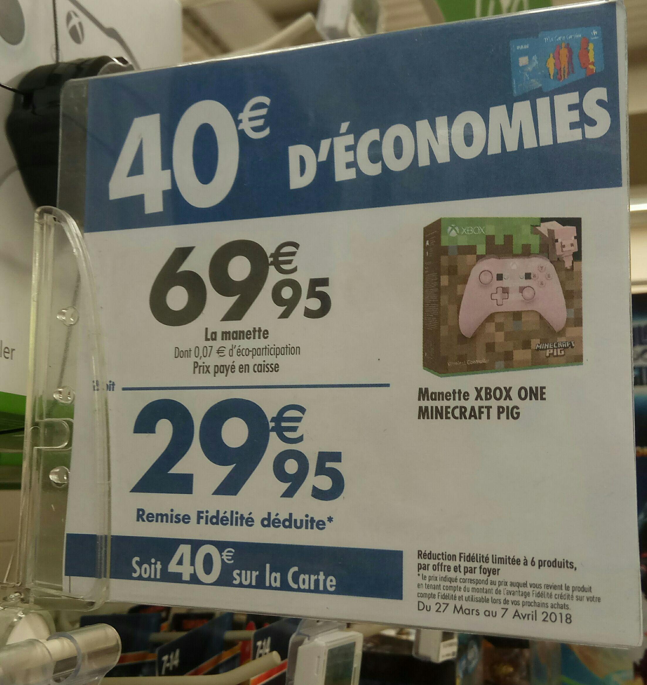 Manette de jeu Microsoft Xbox One Minecraft Pig - rose (via 40€ sur la carte de fidélité) - Thionville (57)
