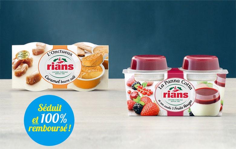2 Bons de réduction de 1€ (non cumulables) offerts pour l'achat d'un produit de la gamme d'Onctueux et de Panna Cotta Rians (via ODR)