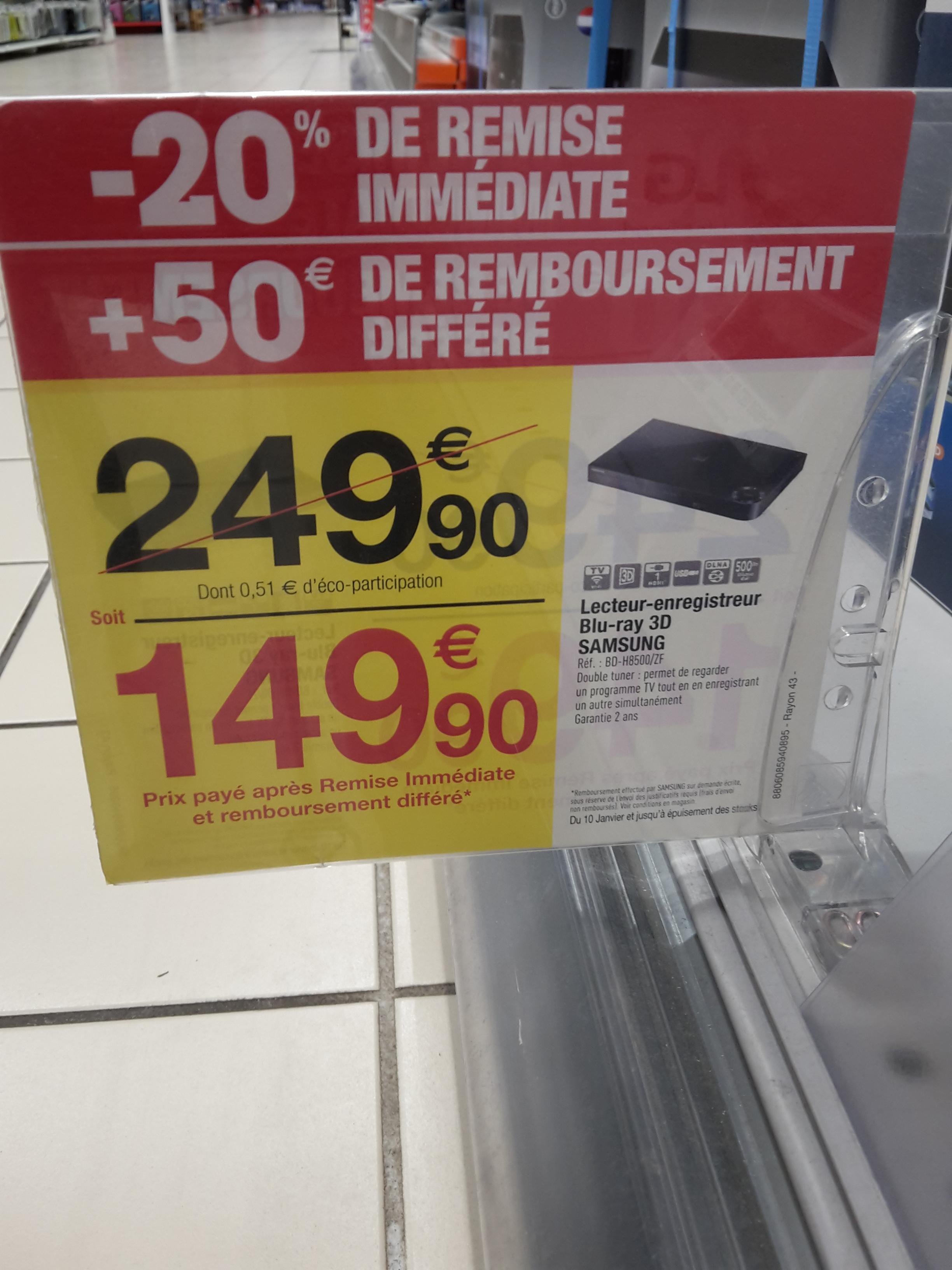 Lecteur enregistreur Blu ray 3D Samsung BD-H8500 avec disque dur 500 GB et double tuner HD (via ODR de 50€) - Carrefour Dax (40)
