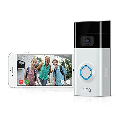 Sonnette vidéo Ring Video Doorbell 2 - 1080p HD avec système audio bidirectionnel, détection de mouvement, WiFi