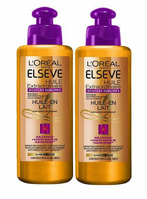[Panier Plus] Lot de 2 Soins sans rinçage L'Oreal Elseve Huile Extraordinaire pour Cheveux Bouclés - 200 ml